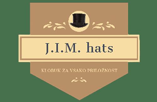 Logotip JIM Klobuki v odtenkih rjave
